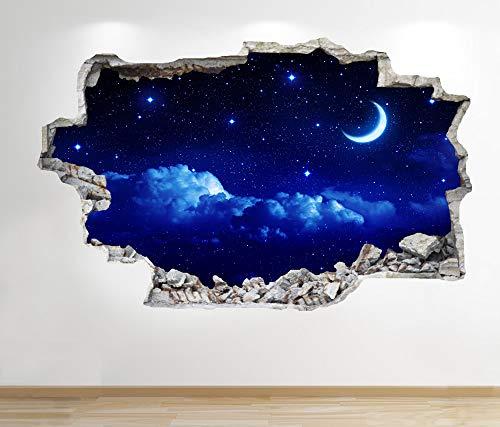 1Stop Graphics Shop Mond und Sterne Nachthimmel Wandaufkleber 3D Optik - Sonnenuntergang Jungen Schlafzimmer Lounge Z147 - Large: 70 cm x 111 cm