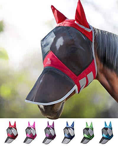 Harrison Howard CareMaster PRO Luminous Maschera Anti-Mosche per Cavallo UV Protezione Pieno Volto Rosso (L; Full Size)