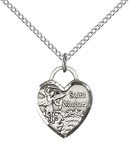 F A Dumont Sterling Silver St. Michael Heart Pendant with 18' Sterling Silver Lite Curb Chain. Patron Saint of Police Officers/EMTs