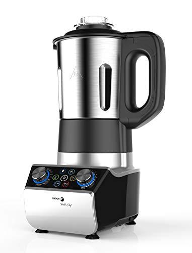 FAGOR Procesador de alimentos I-COOK. 1300W de potencia y 10 velocidades. Vaso de 2.5L de capacidad. Temperatura de 30 a 120 grados. 3 accesorios incluidos. 5 programas preinstalados. Diseño compacto