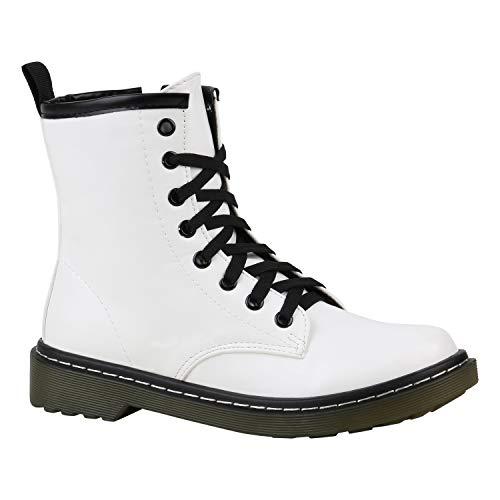 Stiefelparadies Geschnürte Damen Worker Boots Profilsohle Stiefel Stiefeletten Weiss 38 Flandell