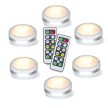 Puck Lights with Remote Starxing Wireless Led Puck Lights Battery Operated Led Puck Lights with Remote Control Led Under Cabinet Lighting Dimmable Closet Light Battery Powered  Natural White 6PK