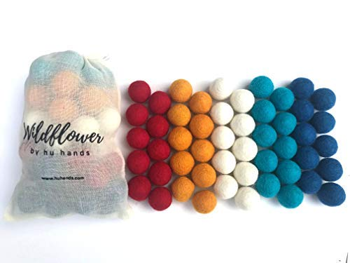 Wildflower by Hu Hands Freedom Felt Balls | 1 inch (2.5cm) Wool Pom Poms | 50 Hand Felted Pompoms in Red, White, Blue and Orange for Crafts, Felting, Garland, Decor, Party | Muslin Bag