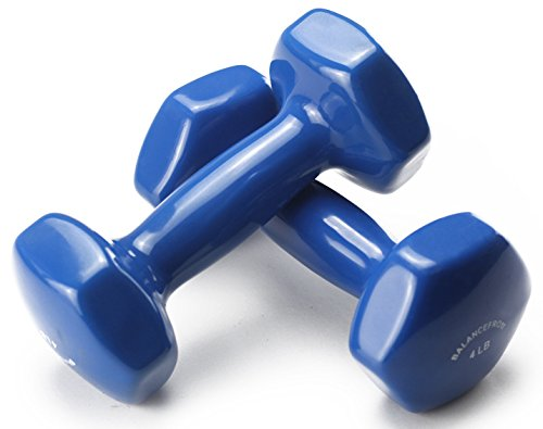 BalanceFrom Colored Vinyl Coated Cast Iron Dumbbells, Pair
