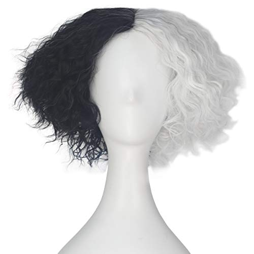 Miss U Hair Synthetic Short Curly Hair Mad Hatter Men's Yellow Red Party Copslay lolita Wig (Half white half black)
