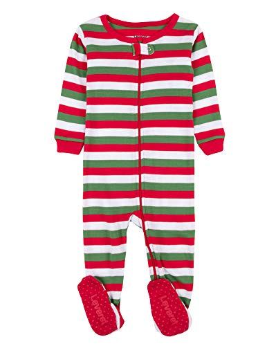 Leveret Kids Red White & Green Baby Boys Girls Footed Pajamas Sleeper Christmas Pjs 100% Cotton (2 Years)