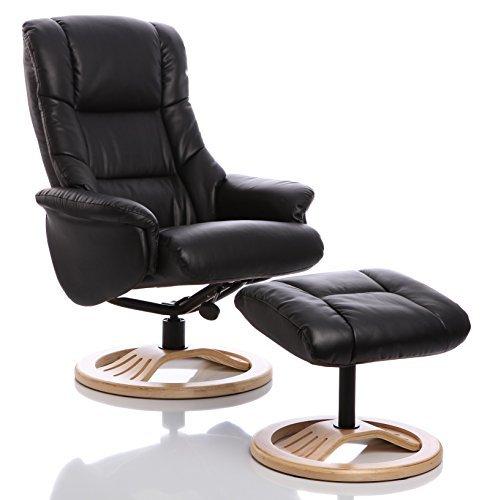 Sillón The Mandalay - silla giratoria reclinable de cuero y reposapiés a juego en en color Negro...