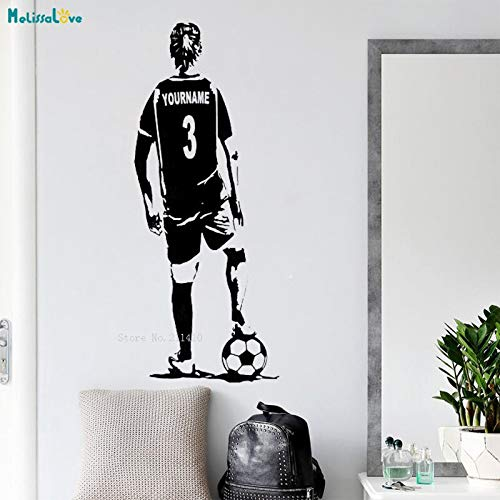 Tianpengyuanshuai Personalized shirt name and number football wall decals girls players women football sports decoration vinyl stickers 80x33cm