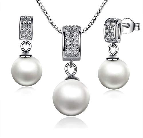 Colgante y Pendientes en Juego con Perlas de Nácar y Plata de Primera Ley Set de Joyas de Plata 925 y Perlas autenticas Collar y Pendientes con circonia cúbica y Perlas de 8-9mm