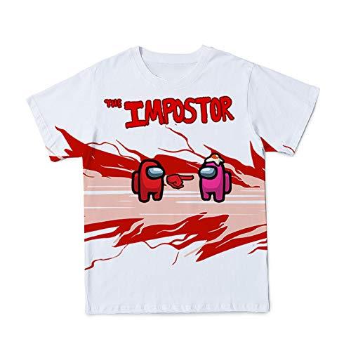 Amacigana Unisex T-Shirt Kids Boys Girl Cartoon Printing Casual Round Neck Short Sleeved Shirt Blouse (Among Us2,2XL,)