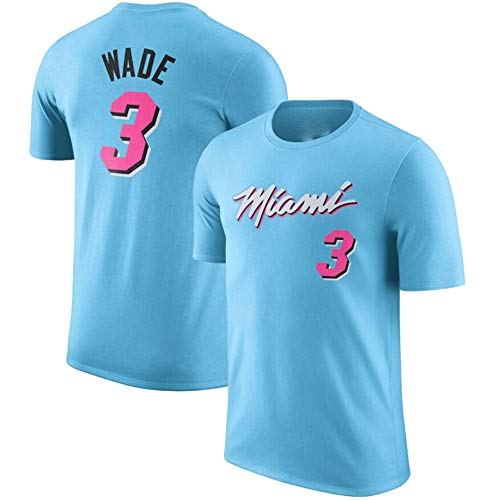 Camiseta De Baloncesto para Hombre, Camiseta De Manga Corta Miami Heat # 3 Wade, Camiseta Deportiva De Verano De Baloncesto De Manga Corta para Jóvenes,Azul,S