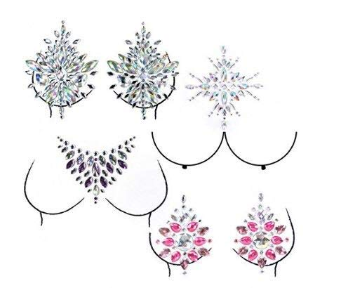 4 Sets Mermaid Face Gems,Rhinestone Tattoo Festival Jewels Face Chest Forehead Body Temporary Tattoos Glitter Crystal Tattoos Bindi Breast Chest Body Rhinestone Stickers(4 Sets Breast Glitter)