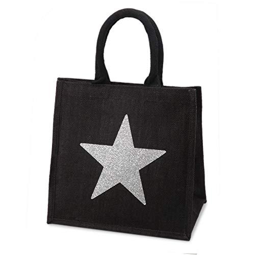 Cabas en toile de jute noire - Étoile scintillante - 30 cm de haut x 30 cm de large x 20 cm de profondeur
