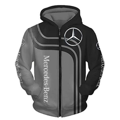 Daoxizhou Jacke Hoodies, 3D Voll Drucken Mercedes-Benz Herren Leicht Sweatshirt Unisex Draussen Beiläufig Oben, Hoodies,Jacke,T-Shirt, Zip Sweatshirt-Fan Jersey Lose,02,XXXXL