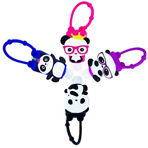 Botellas de Viaje de Silicona Panda para Desinfectante de Manos, 4 Pack Contenedor de Viaje 30ml Accesorios de Viaje portátiles para Jabon Liquido Champú Loción, Negro Azul Rojo Púrpura