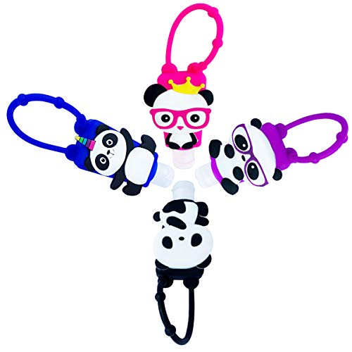 DiaryTown Botellas de Viaje de Silicona Panda para Desinfectante de Manos, 4 Pack Contenedor de Viaje 30ml Accesorios de Viaje portátiles para Jabon Liquido Champú Loción, Negro Azul Rojo Púrpura