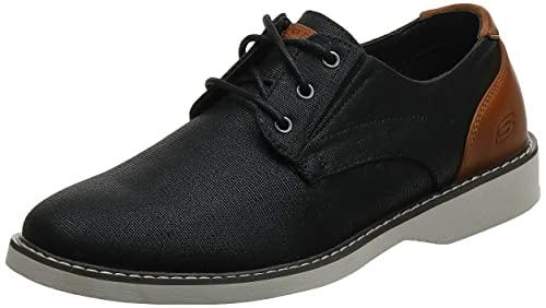Skechers Parton-Wilcon, Zapatos de Cordones Brogue Hombre, Negro (BLK Black Canvas), 42 EU