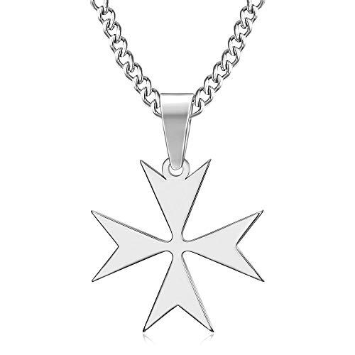 BOBIJOO Jewelry - Pendentif Collier Croix de Malte ou de Saint Jean Acier Inoxydable 316L Argenté Chaîne Templier