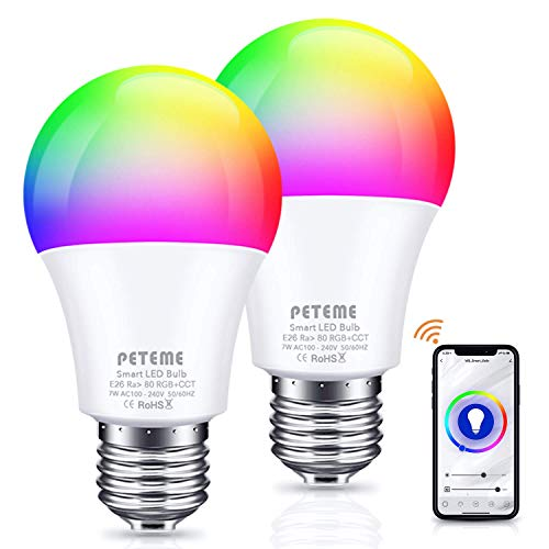 Peteme Alexa Smart Light Bulbs, LED Cool/Warm White RGB Color Changing WiFi Smart Bulbs That Work with Alexa, Siri, Echo, Google Home (No Hub Required), E26 A19 60W Multicolor (2 Pack)