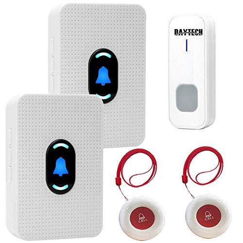 Alarma Personal inalámbrica para Enfermeras, Personas Mayores, 2 receptores y 2 transmisores Impermeables y 1 Timbre Impermeable