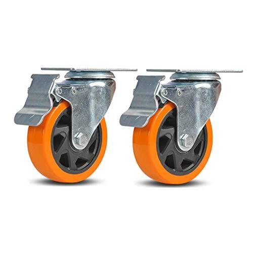 Swivel Caster Wielen, wielen, industrie, rubber, Heavy Duty, Top plaat, industriële wielen, 3/4/5 inch, vergrendeling metalen draaibare wiel, vervanging voor winkelwagens, meubels, werkbank, trolley, set van 2