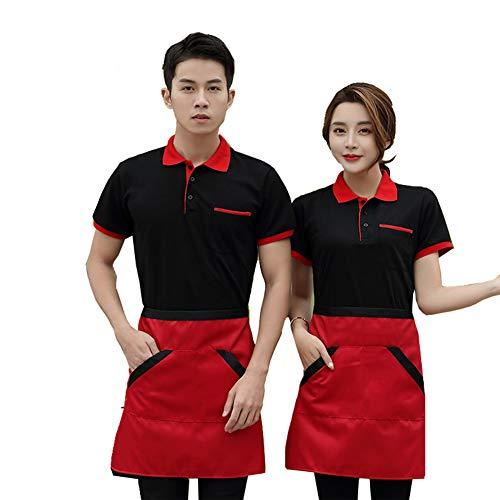 XSQR Kellner Arbeitskleidung T-Shirt Kurzarm Sommer Verpflegung Restaurant Hotel Hot Pot Restaurant Milchtee Fast-Food-Restaurant Arbeitskleidung,004,XXL
