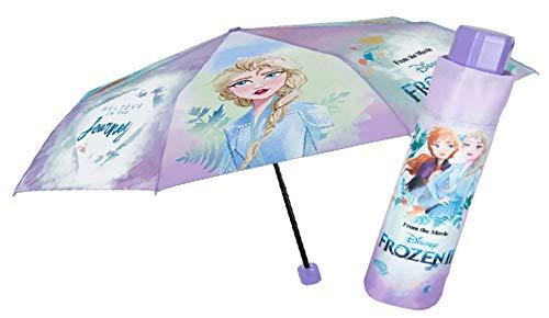 POS 30849088 - Taschenschirm mit Disney Frozen II Motiv, Regenschirm für Mädchen, Durchmesser 91 cm, mit manueller Öffnung, Fiberglasgestell, windfest