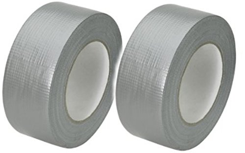 Timtina - 2 rotoli di nastro adesivo da 50 m x 50 mm, colore: argento/grigio, extra forte (2 rotoli da 50 m x 50 mm (totale 100 m), colore: grigio argento Duo)