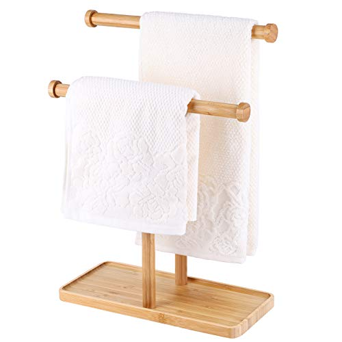 MaxGear Towel Rack Hand Towel Stand, Double-T Hand Towel Holder Stand and Accessories Jewelry Stand, Countertop Towel Holder for Bathroom, Bamboo-1Pack