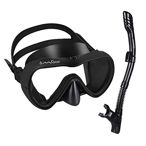 OMGear Snorkel Set Snorkeling Gear Package Diving Set Premium Silicone Dive Goggles with Nose Cover Snorkel Tube Neoprene Mask Strap Scuba Diving Freediving Spearfishing Swimming (Black)