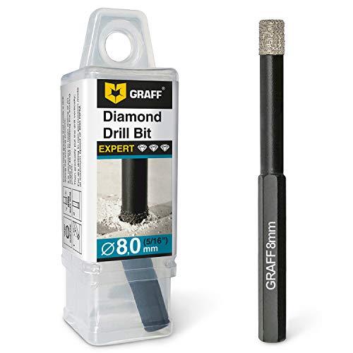 GRAFF Broca de diamante para azulejos, 8 mm, para azulejos, gres porcelánico, granito, cerámica, piedra – broca con vástago hexagonal