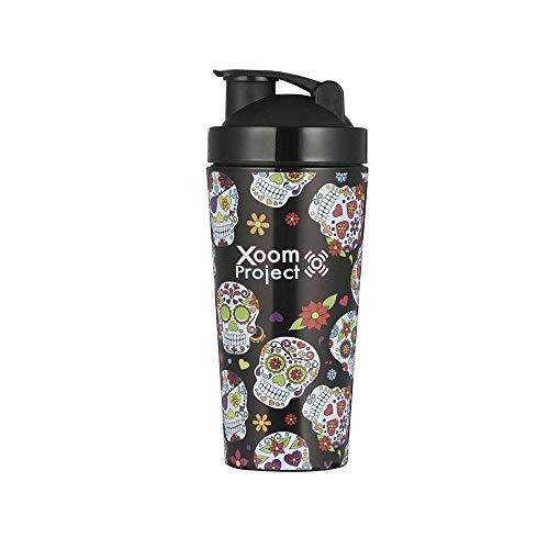 XOOM PROJECT  Vaso Mezclador de Acero Inoxidable   Ideal para Suplementos y Proteínas  Mexican Skull