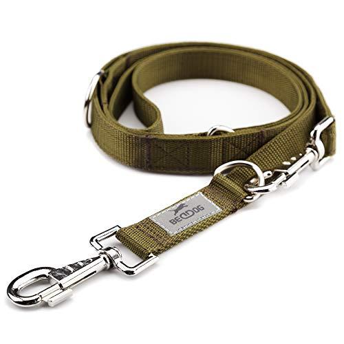BedDog® Guinzaglio per Cani Spike, Regolabile in 3 Lunghezze, per Cani di Taglia Media e Grande, 2 Metri di Lunghezza Totale - Cachi