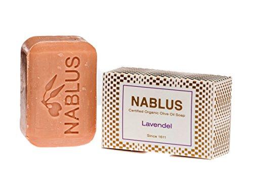 Nablus Soap natürliche Olivenölseife, Sorte: Lavendel, handgemacht und palmölfrei, 100g