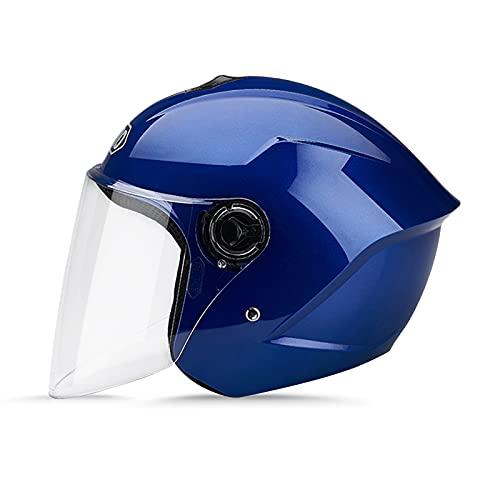 LIONCIANO Cascos De Motocicleta para Hombres y Mujeres, Cascos De Ciclomotor con Viseras.El Cabezal Anticolisión Protege La Seguridad Vial De Los Usuarios(Azul)