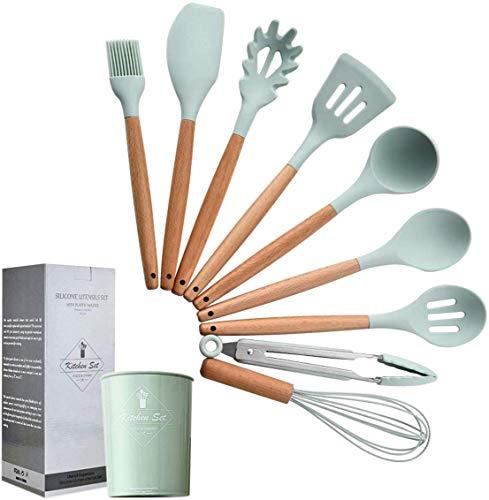 Set di Utensili da Cucina in Silicone – 9 Pezzi Manici in Legno Naturale, Utensili da Cucina, Pinze, Spatola, Cucchiaio per Pentole Antiaderenti Verde Menta