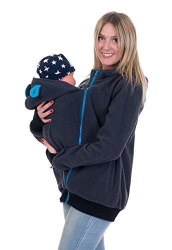 Divita 3in1 Tragejacke Umstandsjacke mit süssen Bärchen Ohren für Tragetuch Babytrage Fleece für Baby und Mama 46 (S/M (36/38), Graphit/Türkis)