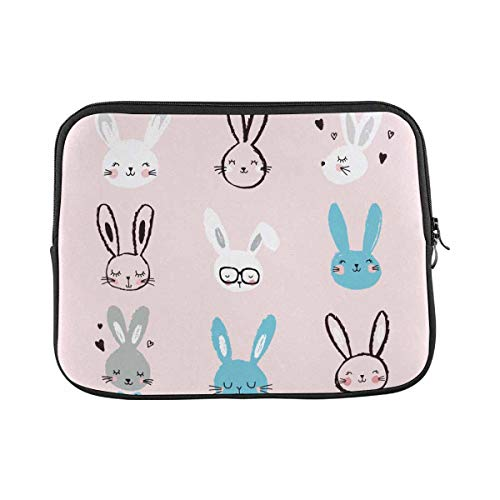 Bunny Rabbit Pink Laptop Sleeve Case 11 11.6 Inch Briefcase Cover Protective Notebook Laptop Bag