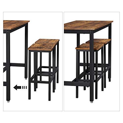 VASAGLE Bartisch-Set, Stehtisch mit 2 Barhockern, Küchentresen mit Barstühlen, Küchentisch und Küchenstühle im Industrie-Design, für Küche, 120 x 60 x 90 cm, vintagebraun-schwarz LBT15X - 7