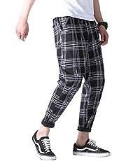 [YACORESYA(夜行列車)] パンツ ズボン チェック柄 メンズ レディース 大きいサイズ チノパン トラウザー スリム テーパード ウエストゴム調節 春 夏 秋 カジュアル ボーイフレンド