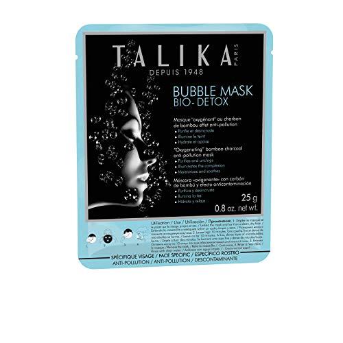 Bubble Mask Bio Detox - Talika - Entgiftende, sauerstoffspendende Maske - Reinigende Micro-Bubbles Pflege für alle Hauttypen und Unreinheiten - Schäumende Gewebe Bubble Maske mit Bambusholzkohle