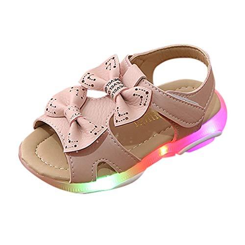 Fannyfuny Kinderschuhe Krabbelschuhe Babyschuhe LED Schuhe Beleuchtete Freizeitschuhe Sandalen für Kinder Mädchen Anti-Rutsch-Weiche Strandschuhe Trekking Wanderschuhe Prinzessin Schuhe mit Bowknot