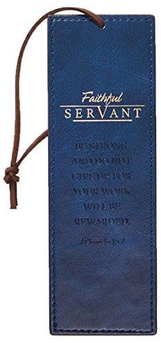 Christian Art Gifts Navy Blue Faux Leather Bookmark | Faithful Servant Bible Verse Inspirational Bookmark for Men and Women w/Cord Tassel