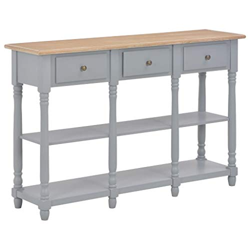 Buyounger Console Table Grey 120x30x76 cm MDF