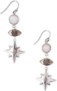 White Mineral Stone and Gunmetal with Starburst Silvertone Dangle Hook Earrings
