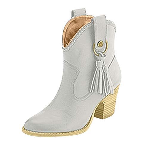 Sllowwa Stiefel Damen Stiefeletten Fransen Booties große Ritter Stiefel High Heel Damenmode Schuhe Ankle Boots(Grau,37 EU)