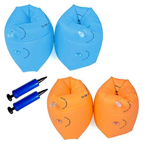 Swallowzy aufblasbare Swim Rollup Arm Bands, 4 Pack Float Sleeves Schwimmflügel mit 2 Pack Luftpumpe