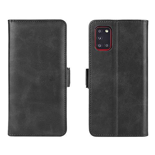 Henxunton PU leder Flip Hoesje Portemonnee Cover Magnetisch Sluiting Dubbele Beschermhoes Skin voor Samsung Galaxy A31 Telefoon(Zwart)