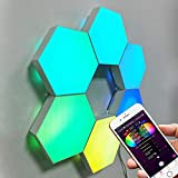 Century Bright Modular Wall Light - Smart WiFi Programmable RGB Lamps - App-Controlled LED Light Hexagon Lighting - Creative Decor for Gaming Room, Bedroom, Home Office - 6 Colorful Geometric Panels