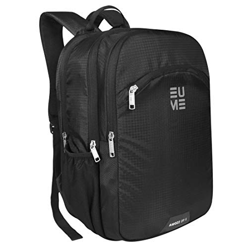 EUME Amozz 31Ltrs 15.6 Inch Laptop Backpack With 3 Compartment Water Resistance Nylon Fabric for School, Collage, Office and Travel Backpack (Black)